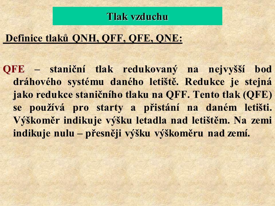 Tlak vzduchu Definice tlaků QNH, QFF, QFE, QNE: QFE QFE – staniční tlak redukovaný na nejvyšší bod dráhového systému daného letiště. Redukce je stejná