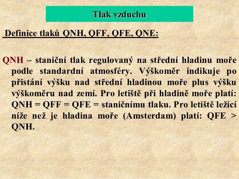 Tlak vzduchu Definice tlaků QNH, QFF, QFE, QNE: QNH QNH – staniční tlak regulovaný na střední hladinu moře podle standardní atmosféry. Výškoměr indiku