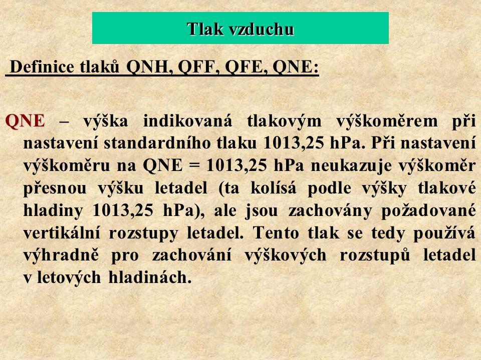 Tlak vzduchu Definice tlaků QNH, QFF, QFE, QNE: QNE QNE – výška indikovaná tlakovým výškoměrem při nastavení standardního tlaku 1013,25 hPa. Při nasta