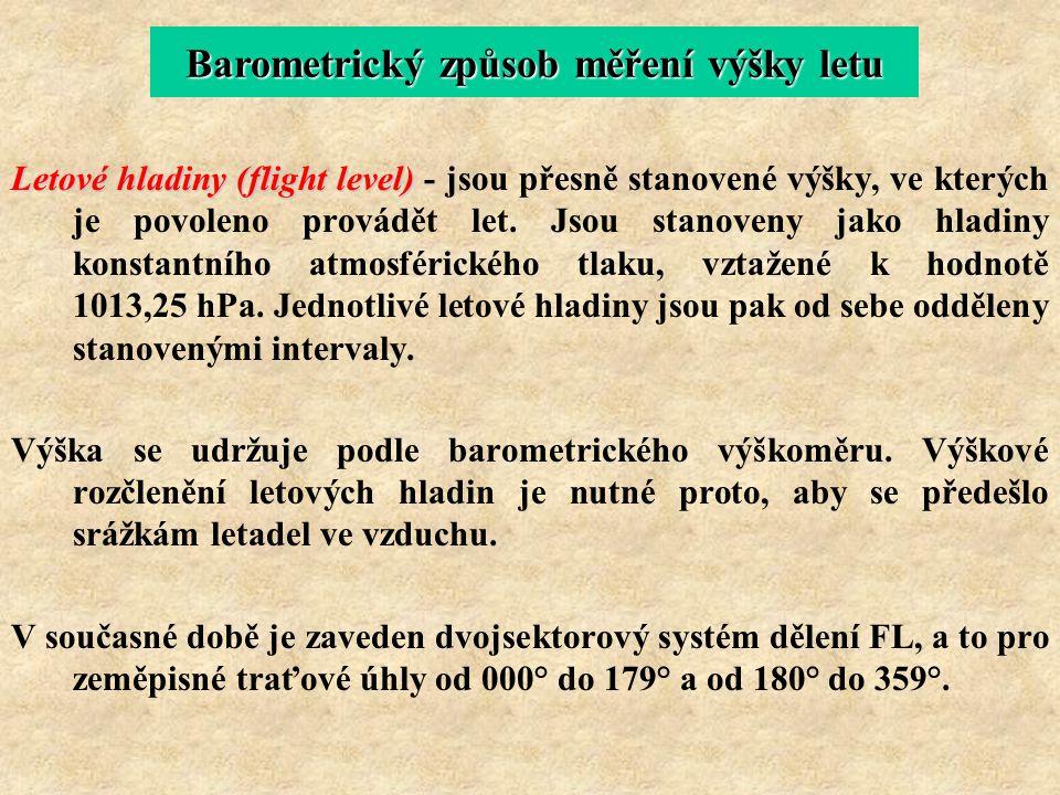 Letové hladiny (flight level) Letové hladiny (flight level) - jsou přesně stanovené výšky, ve kterých je povoleno provádět let. Jsou stanoveny jako hl
