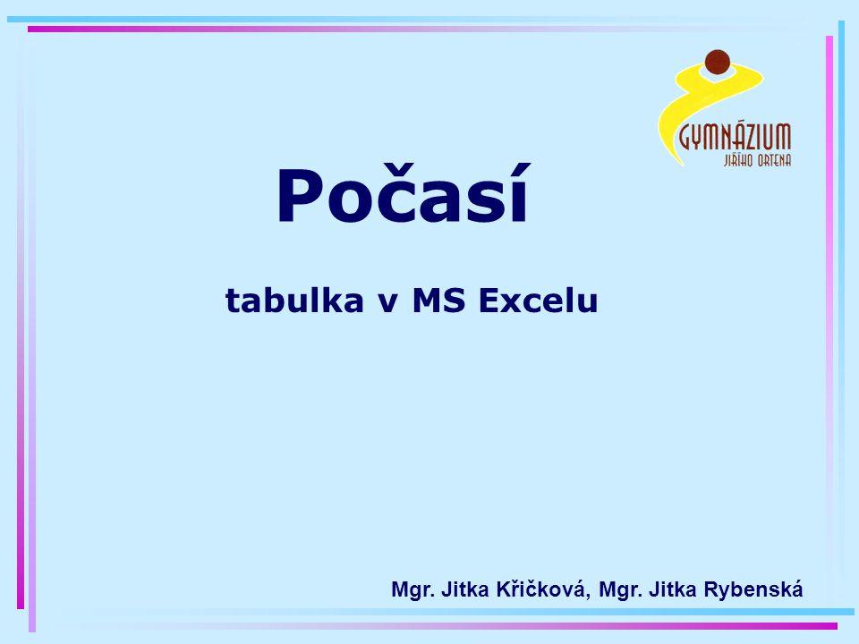 Počasí tabulka v MS Excelu Mgr. Jitka Křičková, Mgr. Jitka Rybenská