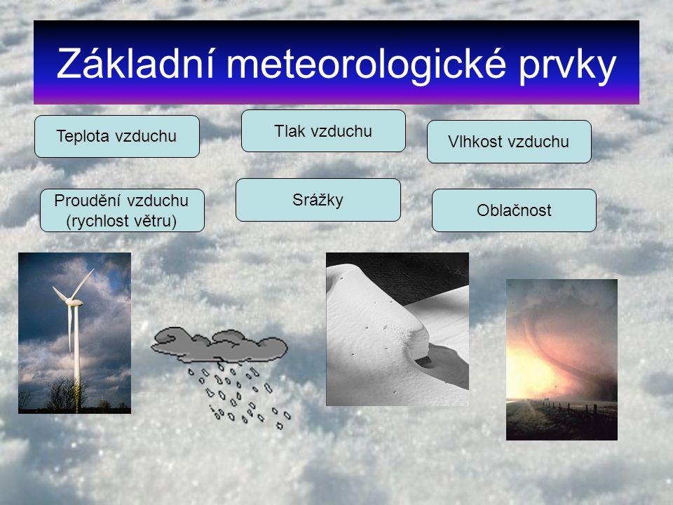 Základní meteorologické prvky Teplota vzduchu Tlak vzduchu Vlhkost vzduchu Proudění vzduchu (rychlost větru) Oblačnost Srážky