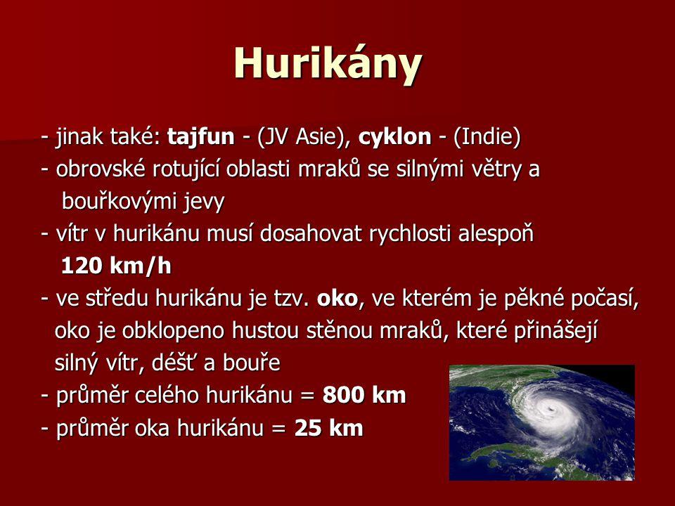 Hurikány - jinak také: tajfun - (JV Asie), cyklon - (Indie) - obrovské rotující oblasti mraků se silnými větry a bouřkovými jevy bouřkovými jevy - vítr v hurikánu musí dosahovat rychlosti alespoň 120 km/h 120 km/h - ve středu hurikánu je tzv.