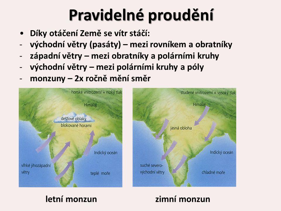 Pravidelné proudění Díky otáčení Země se vítr stáčí: -východní větry (pasáty) – mezi rovníkem a obratníky -západní větry – mezi obratníky a polárními