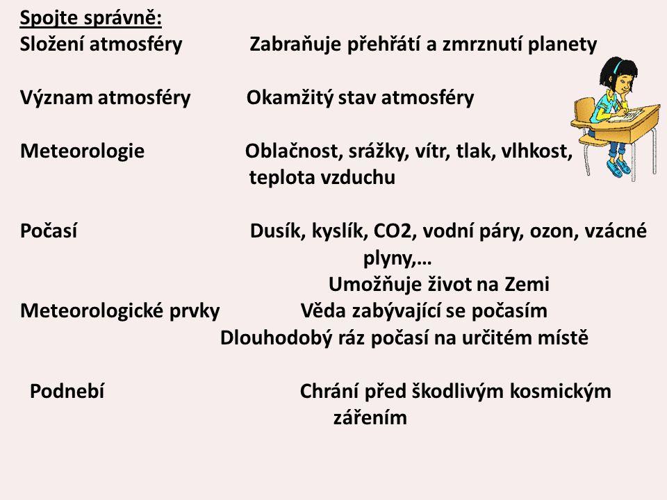 Spojte správně: Složení atmosféry Zabraňuje přehřátí a zmrznutí planety Význam atmosféry Okamžitý stav atmosféry Meteorologie Oblačnost, srážky, vítr,
