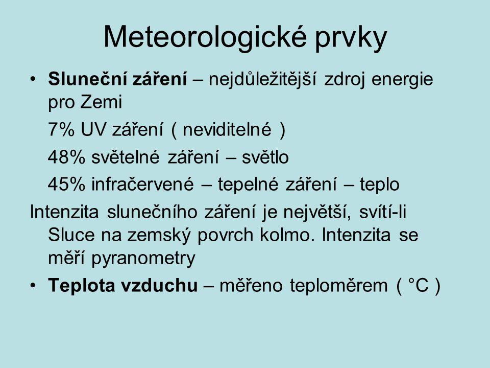 Meteorologické prvky Sluneční záření – nejdůležitější zdroj energie pro Zemi 7% UV záření ( neviditelné ) 48% světelné záření – světlo 45% infračervené – tepelné záření – teplo Intenzita slunečního záření je největší, svítí-li Sluce na zemský povrch kolmo.