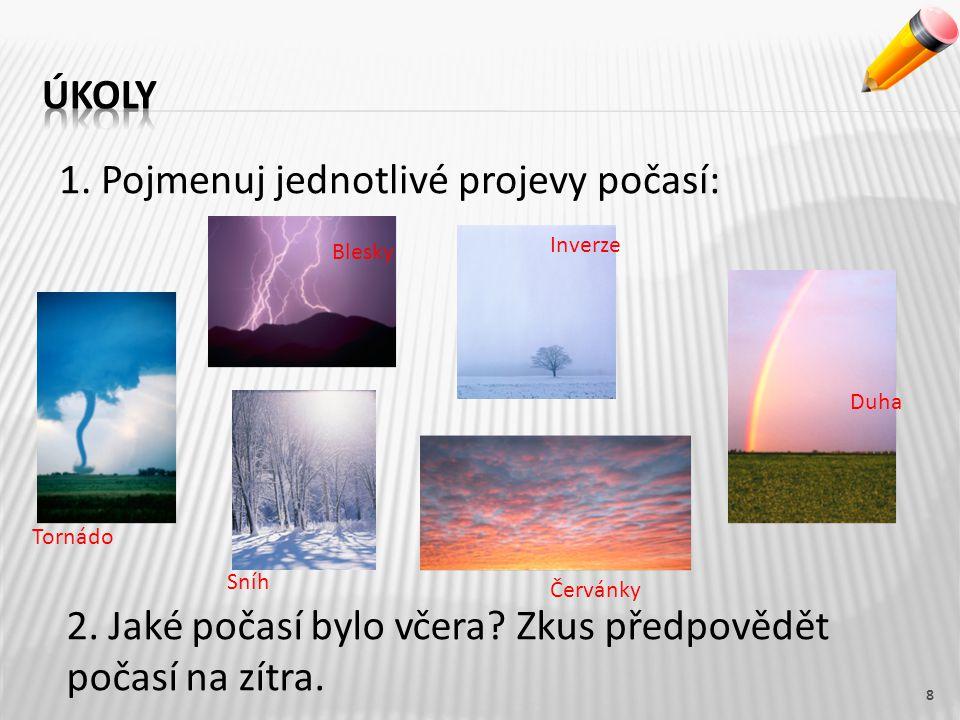 8 1.Pojmenuj jednotlivé projevy počasí: 2. Jaké počasí bylo včera.