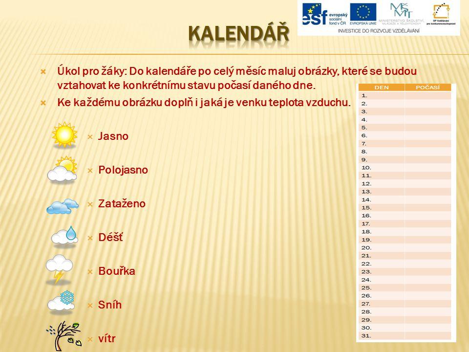  Úkol pro žáky: Do kalendáře po celý měsíc maluj obrázky, které se budou vztahovat ke konkrétnímu stavu počasí daného dne.