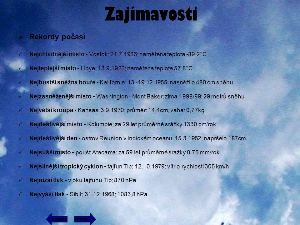 Zajímavosti RRekordy počasí Nejchladnější místo - Vostok; 21.7.1983; naměřena teplota -89,2°C Nejteplejší místo - Libye; 13.9.1922; naměřena teplota