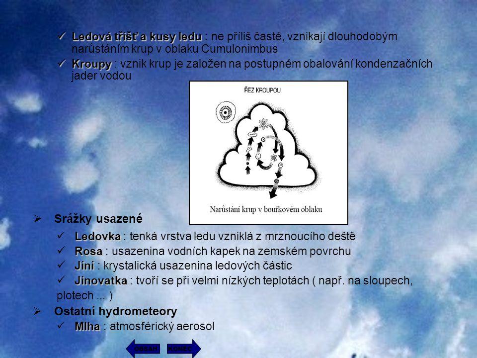 Ledová tříšť a kusy ledu : ne příliš časté, vznikají dlouhodobým narůstáním krup v oblaku Cumulonimbus Kroupy : vznik krup je založen na postupném oba