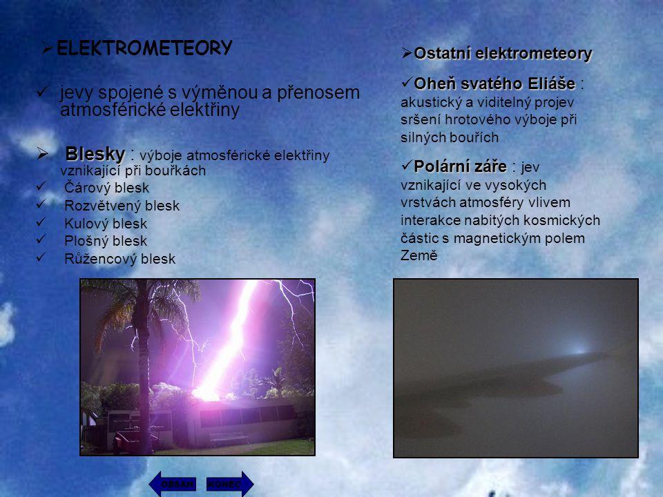  ELEKTROMETEORY jevy spojené s výměnou a přenosem atmosférické elektřiny B BB Blesky : výboje atmosférické elektřiny vznikající při bouřkách Čárový