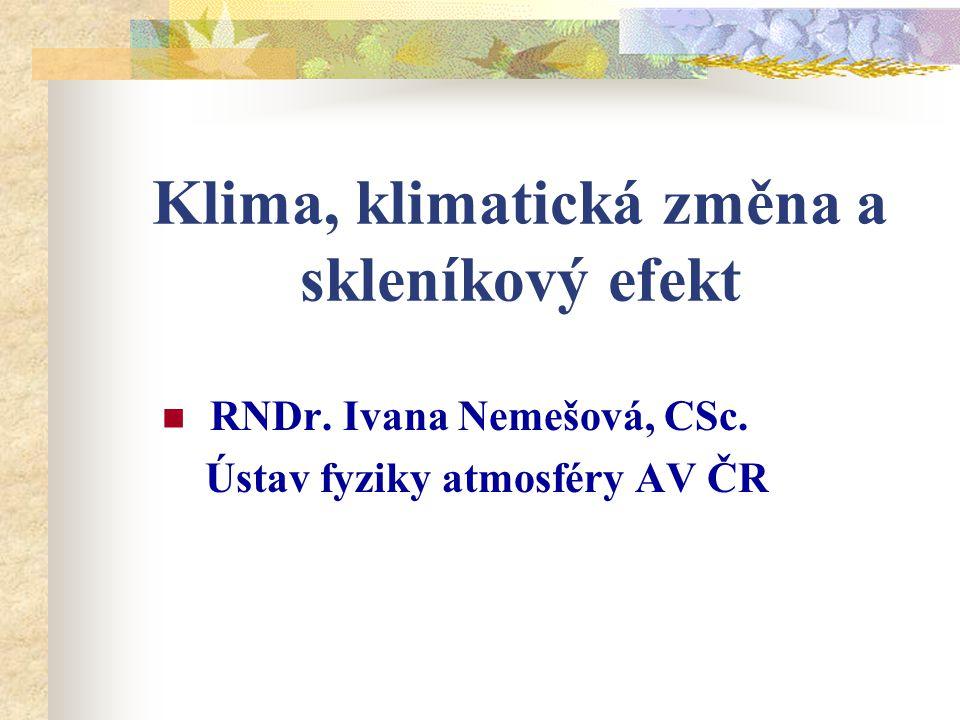 Klima, klimatická změna a skleníkový efekt RNDr. Ivana Nemešová, CSc. Ústav fyziky atmosféry AV ČR