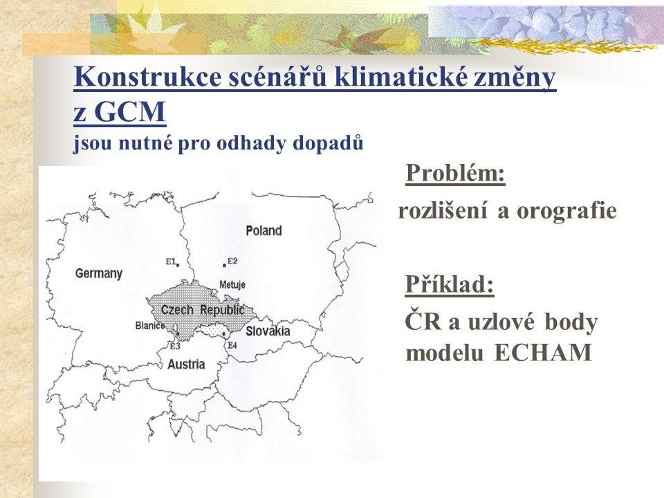 Konstrukce scénářů klimatické změny z GCM jsou nutné pro odhady dopadů Problém: rozlišení a orografie Příklad: ČR a uzlové body modelu ECHAM