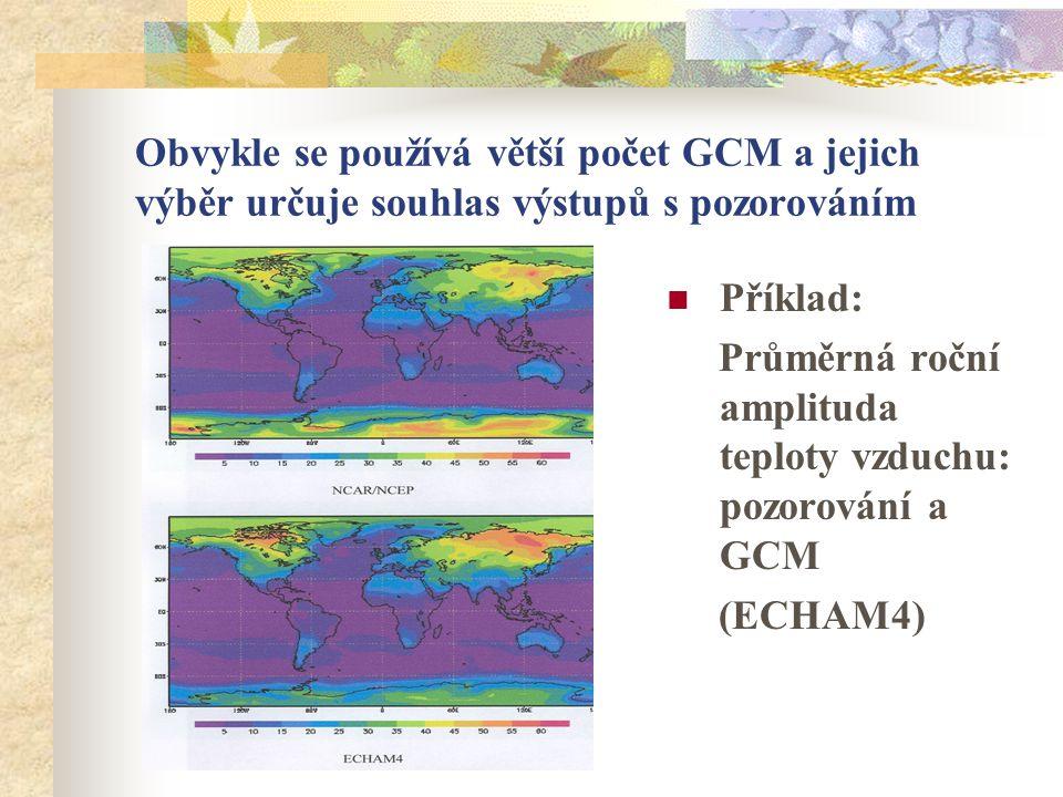Obvykle se používá větší počet GCM a jejich výběr určuje souhlas výstupů s pozorováním Příklad: Průměrná roční amplituda teploty vzduchu: pozorování a GCM (ECHAM4)
