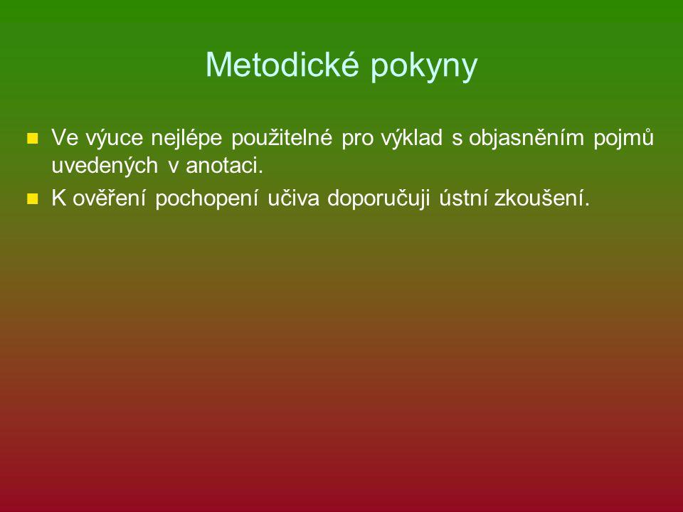 Metodické pokyny Ve výuce nejlépe použitelné pro výklad s objasněním pojmů uvedených v anotaci. K ověření pochopení učiva doporučuji ústní zkoušení.