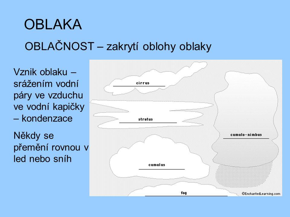 OBLAKA OBLAČNOST – zakrytí oblohy oblaky Vznik oblaku – srážením vodní páry ve vzduchu ve vodní kapičky – kondenzace Někdy se přemění rovnou v led neb