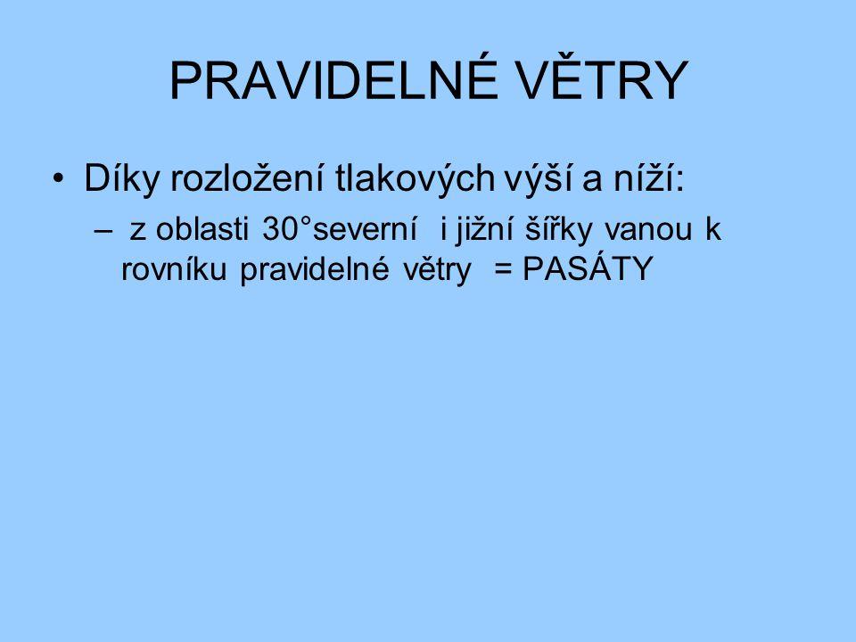 PRAVIDELNÉ VĚTRY Díky rozložení tlakových výší a níží: – z oblasti 30°severní i jižní šířky vanou k rovníku pravidelné větry = PASÁTY