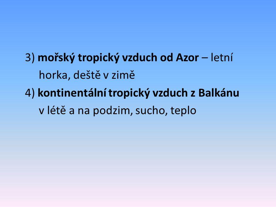 3) mořský tropický vzduch od Azor – letní horka, deště v zimě 4) kontinentální tropický vzduch z Balkánu v létě a na podzim, sucho, teplo