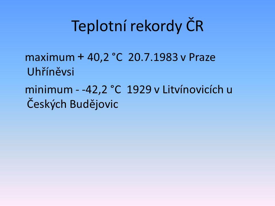 Teplotní rekordy ČR maximum + 40,2 °C 20.7.1983 v Praze Uhříněvsi minimum - -42,2 °C 1929 v Litvínovicích u Českých Budějovic