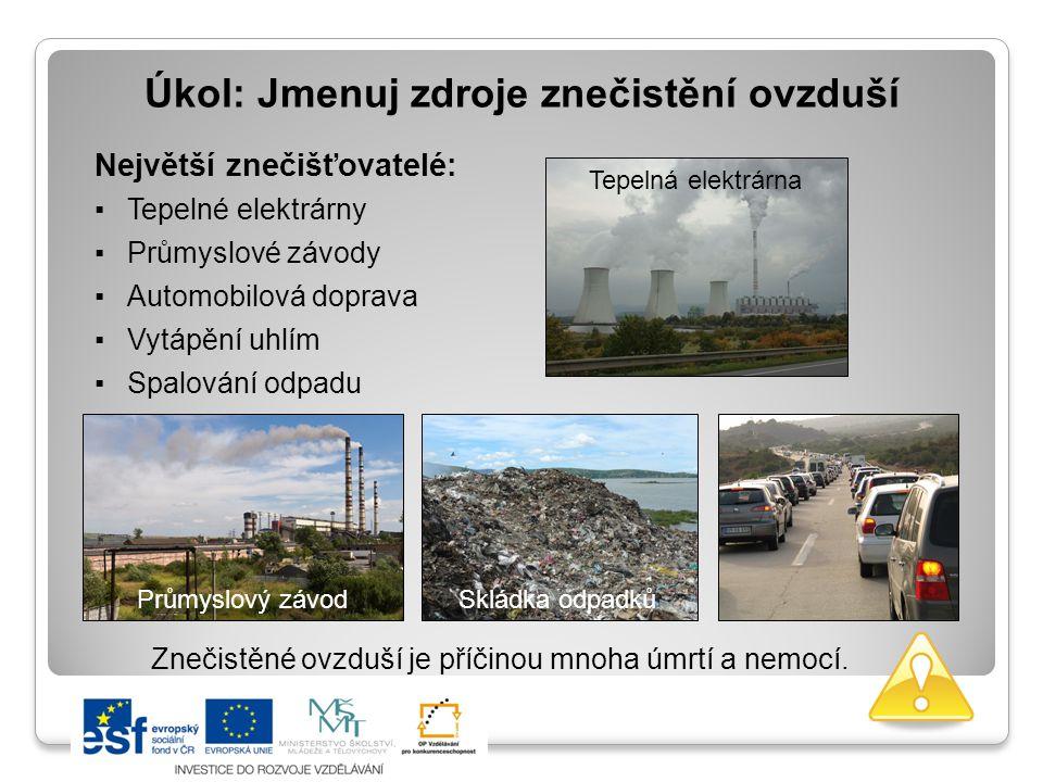 Úkol: Jmenuj zdroje znečistění ovzduší Znečistěné ovzduší je příčinou mnoha úmrtí a nemocí. Největší znečišťovatelé: ▪Tepelné elektrárny ▪Průmyslové z