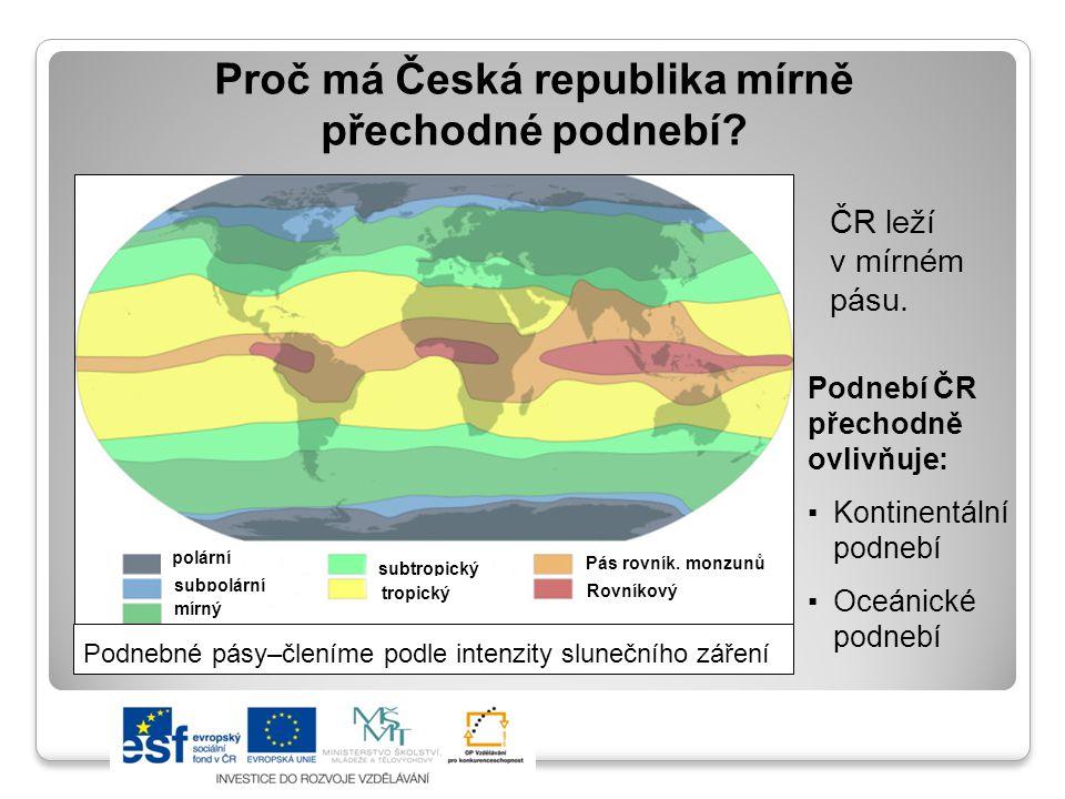 Proč má Česká republika mírně přechodné podnebí? Podnebí ČR přechodně ovlivňuje: ▪Kontinentální podnebí ▪Oceánické podnebí Podnebné pásy–členíme podle