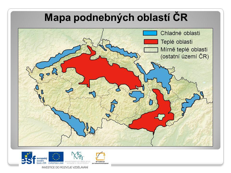 Mapa podnebných oblastí ČR Chladné oblasti Teplé oblasti Mírně teplé oblasti (ostatní území ČR)