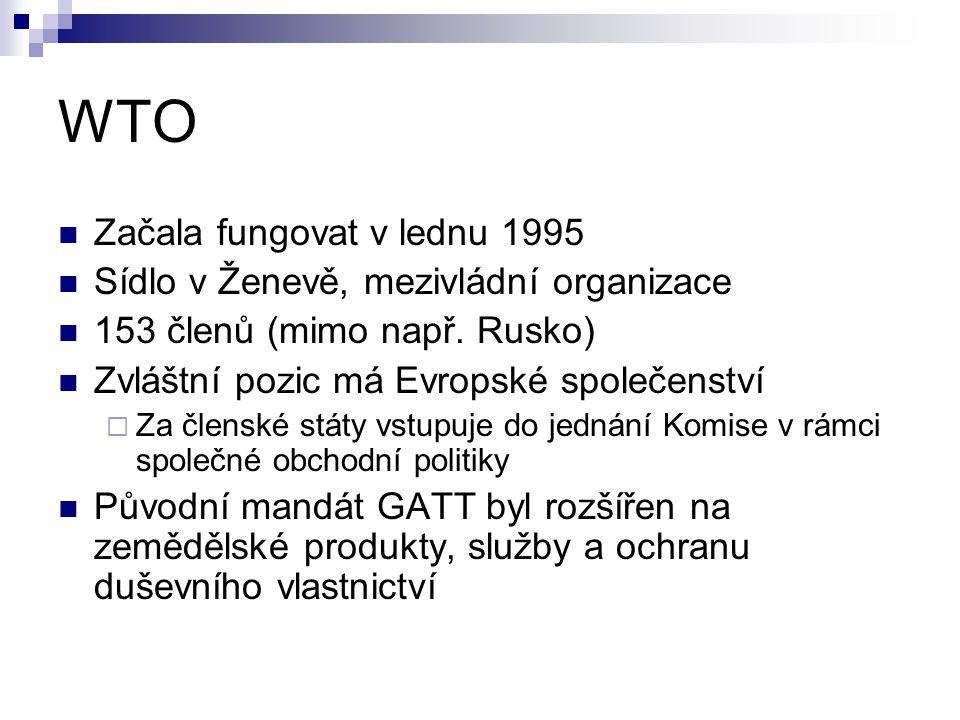 WTO Začala fungovat v lednu 1995 Sídlo v Ženevě, mezivládní organizace 153 členů (mimo např. Rusko) Zvláštní pozic má Evropské společenství  Za člens