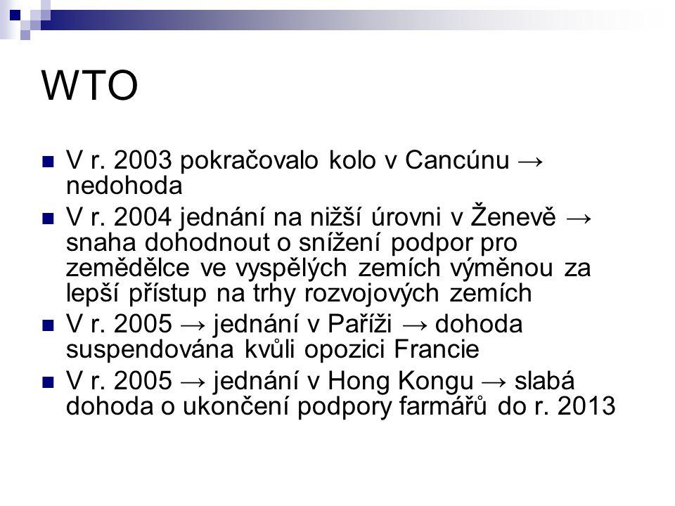 WTO V r. 2003 pokračovalo kolo v Cancúnu → nedohoda V r. 2004 jednání na nižší úrovni v Ženevě → snaha dohodnout o snížení podpor pro zemědělce ve vys