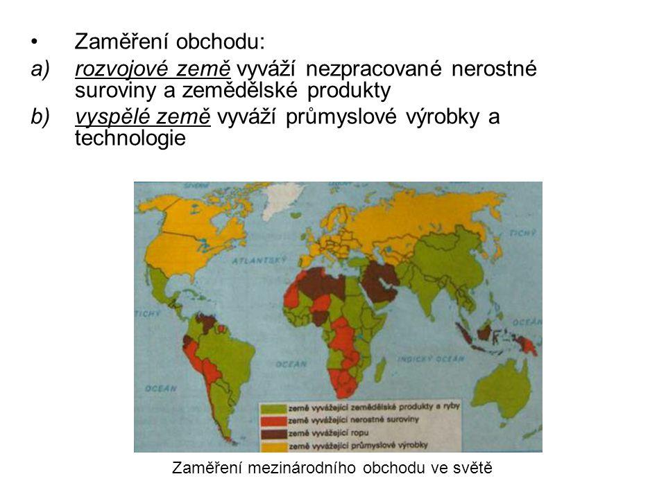 Zaměření obchodu: a)rozvojové země vyváží nezpracované nerostné suroviny a zemědělské produkty b)vyspělé země vyváží průmyslové výrobky a technologie