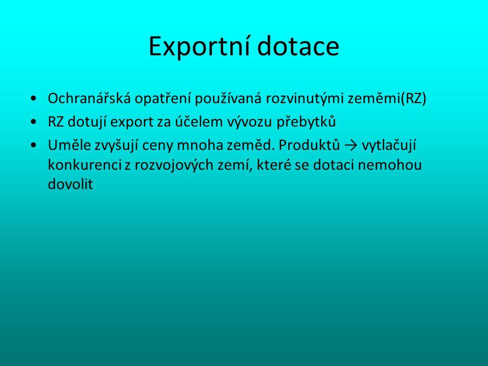 Exportní dotace Ochranářská opatření používaná rozvinutými zeměmi(RZ) RZ dotují export za účelem vývozu přebytků Uměle zvyšují ceny mnoha zeměd. Produ