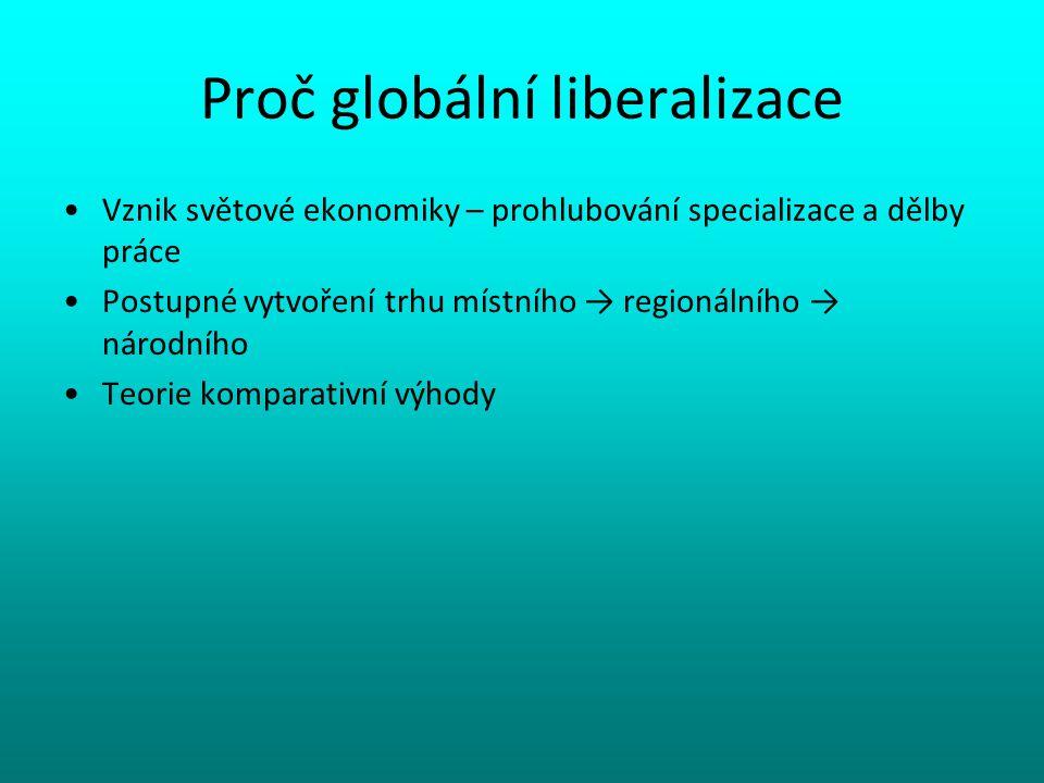 Proč globální liberalizace Vznik světové ekonomiky – prohlubování specializace a dělby práce Postupné vytvoření trhu místního → regionálního → národní
