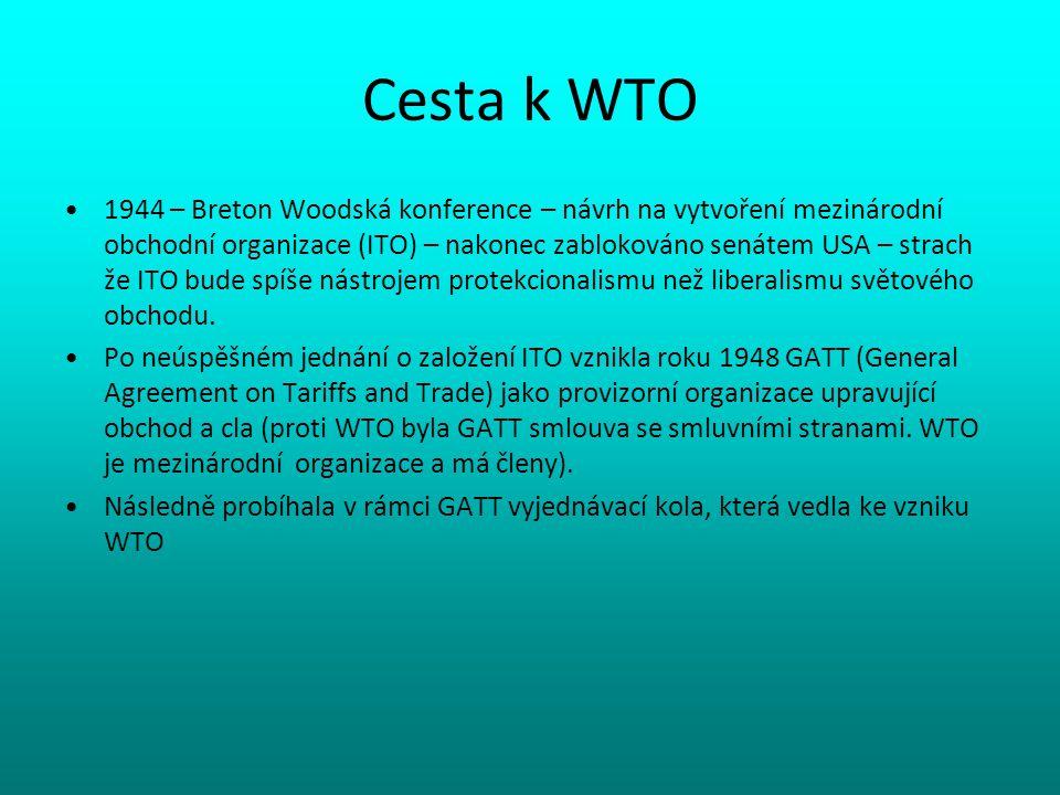 Cesta k WTO 1944 – Breton Woodská konference – návrh na vytvoření mezinárodní obchodní organizace (ITO) – nakonec zablokováno senátem USA – strach že