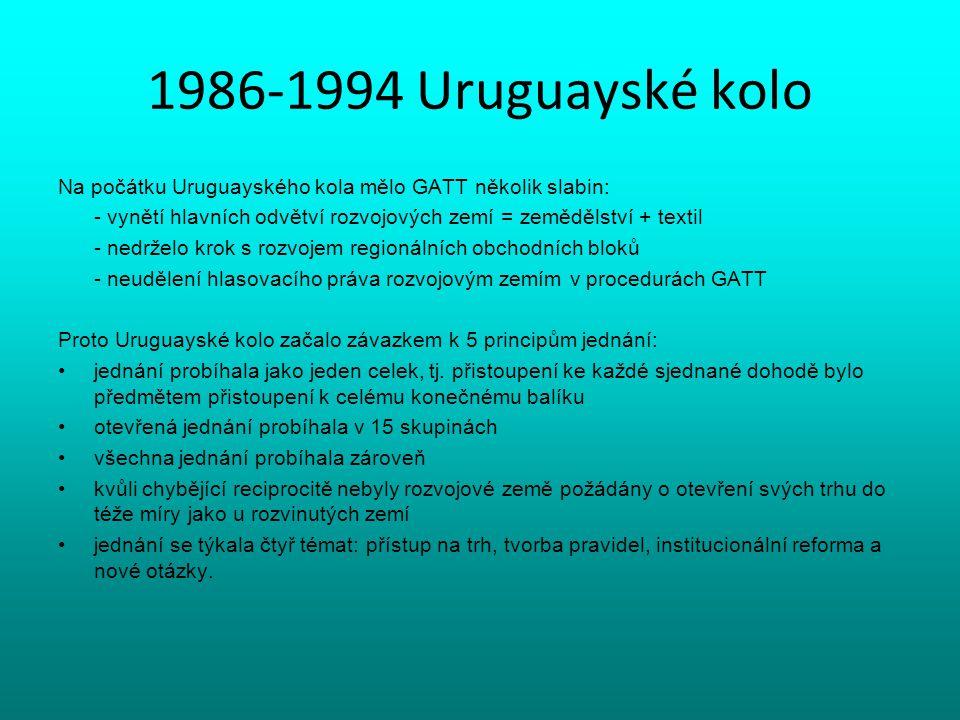 1986-1994 Uruguayské kolo Na počátku Uruguayského kola mělo GATT několik slabin: - vynětí hlavních odvětví rozvojových zemí = zemědělství + textil - n
