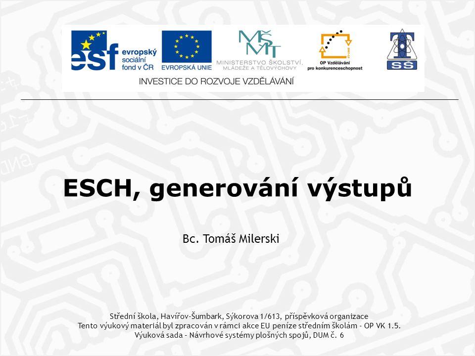 ESCH, generování výstupů Bc.