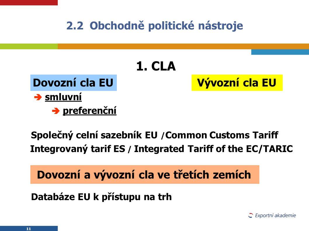 11 1. CLA  Dovozní cla EU Vývozní cla EU   smluvní   preferenční Společný celní sazebník EU / Common Customs Tariff Integrovaný tarif ES / Integr