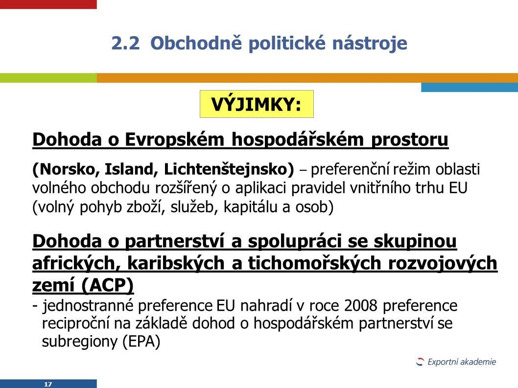 17 2.2 Obchodně politické nástroje VÝJIMKY: Dohoda o Evropském hospodářském prostoru (Norsko, Island, Lichtenštejnsko) – preferenční režim oblasti vol