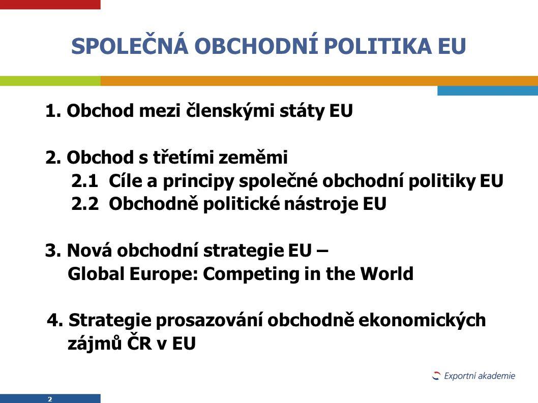 2 2 SPOLEČNÁ OBCHODNÍ POLITIKA EU  1. Obchod mezi členskými státy EU  2. Obchod s třetími zeměmi  2.1 Cíle a principy společné obchodní politiky EU