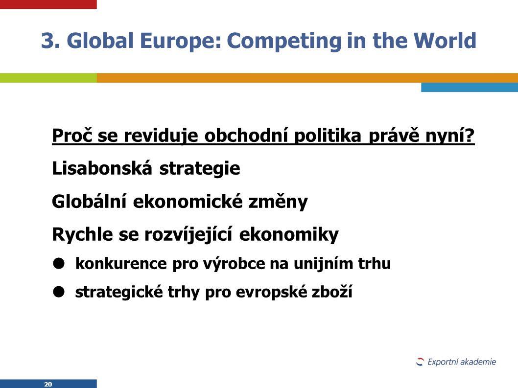 20 Proč se reviduje obchodní politika právě nyní? Lisabonská strategie Globální ekonomické změny Rychle se rozvíjející ekonomiky  konkurence pro výro