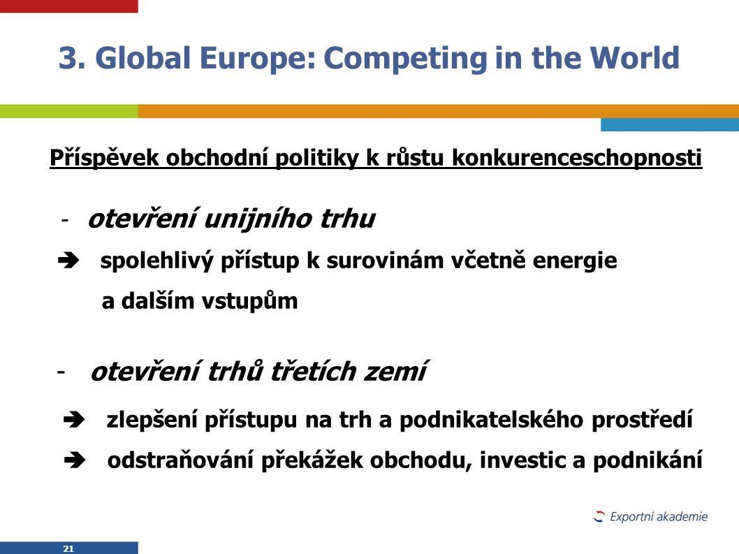 21 Příspěvek obchodní politiky k růstu konkurenceschopnosti - otevření unijního trhu  spolehlivý přístup k surovinám včetně energie a dalším vstupům
