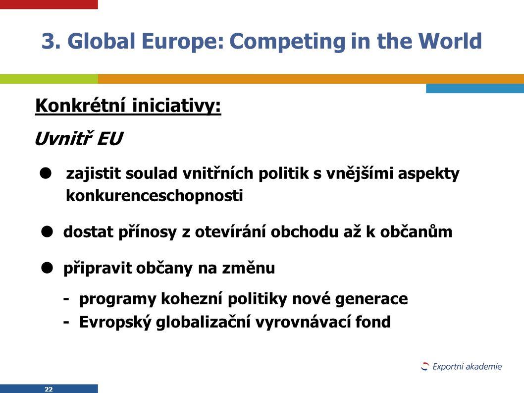22 Konkrétní iniciativy: Uvnitř EU  zajistit soulad vnitřních politik s vnějšími aspekty konkurenceschopnosti  dostat přínosy z otevírání obchodu až