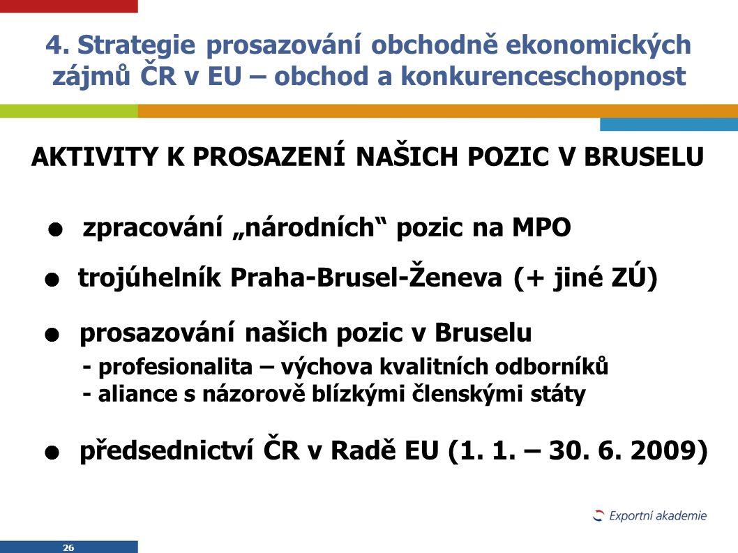 """26 AKTIVITY K PROSAZENÍ NAŠICH POZIC V BRUSELU  zpracování """"národních"""" pozic na MPO  trojúhelník Praha-Brusel-Ženeva (+ jiné ZÚ)  prosazování našic"""
