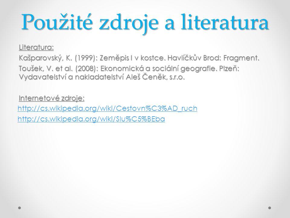 Použité zdroje a literatura Literatura: Kašparovský, K. (1999): Zeměpis I v kostce. Havlíčkův Brod: Fragment. Toušek, V. et al. (2008): Ekonomická a s