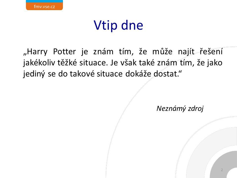 """Vtip dne """"Harry Potter je znám tím, že může najít řešení jakékoliv těžké situace."""