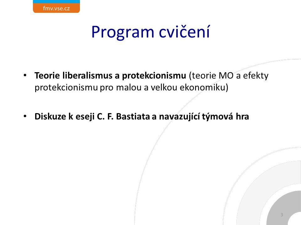 Program cvičení Teorie liberalismus a protekcionismu (teorie MO a efekty protekcionismu pro malou a velkou ekonomiku) Diskuze k eseji C.