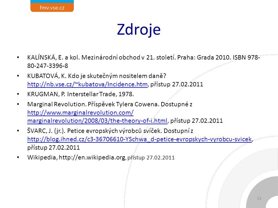 Zdroje KALÍNSKÁ, E.a kol. Mezinárodní obchod v 21.