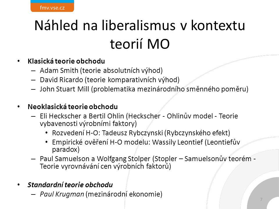 Náhled na liberalismus v kontextu teorií MO Klasická teorie obchodu – Adam Smith (teorie absolutních výhod) – David Ricardo (teorie komparativních výhod) – John Stuart Mill (problematika mezinárodního směnného poměru) Neoklasická teorie obchodu – Eli Heckscher a Bertil Ohlin (Heckscher - Ohlinův model - Teorie vybavenosti výrobními faktory) Rozvedení H-O: Tadeusz Rybczynski (Rybczynského efekt) Empirické ověření H-O modelu: Wassily Leontief (Leontiefův paradox) – Paul Samuelson a Wolfgang Stolper (Stopler – Samuelsonův teorém - Teorie vyrovnávání cen výrobních faktorů) Standardní teorie obchodu – Paul Krugman (mezinárodní ekonomie) 7