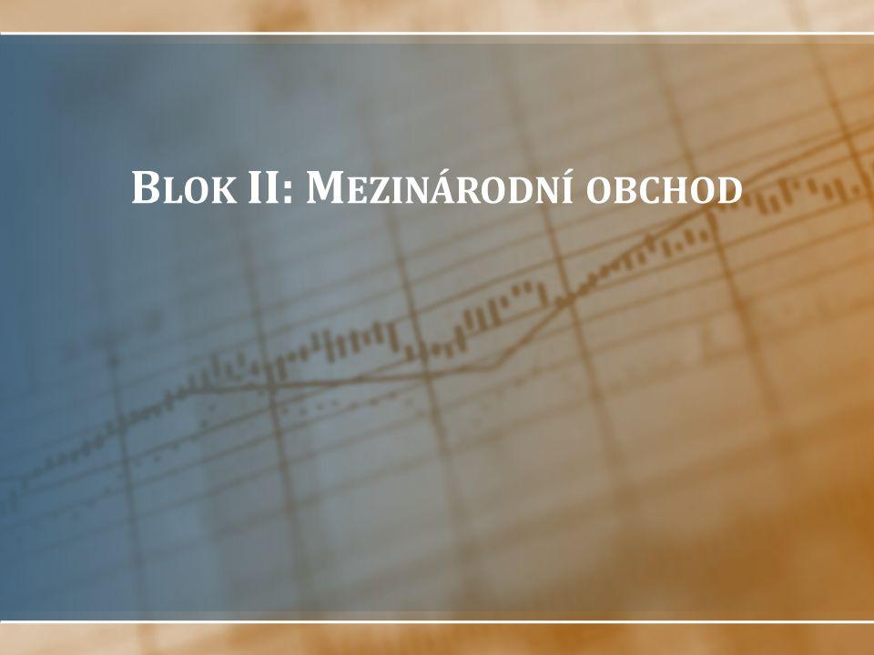 Struktura bloku Teorie mezinárodního obchodu Obchodní politika státu, překážky obchodu Světová obchodní organizace Databáze mezinárodního obchodu Globalizace (seminární četba)