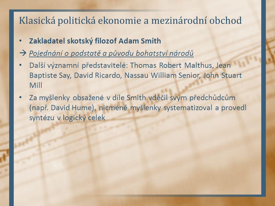 Klasická politická ekonomie a mezinárodní obchod Zakladatel skotský filozof Adam Smith  Pojednání o podstatě a původu bohatství národů Další významní