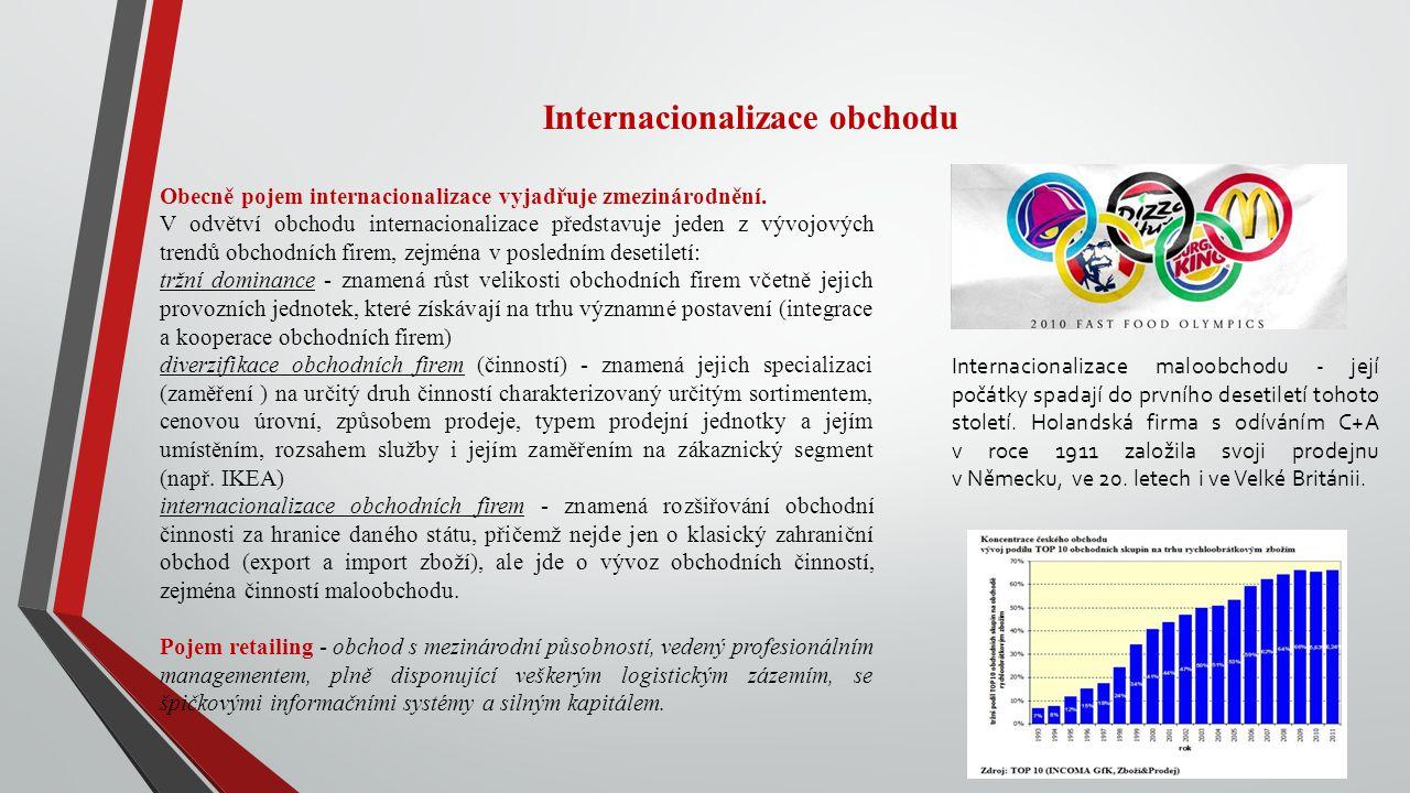 Internacionalizace obchodu Obecně pojem internacionalizace vyjadřuje zmezinárodnění. V odvětví obchodu internacionalizace představuje jeden z vývojový