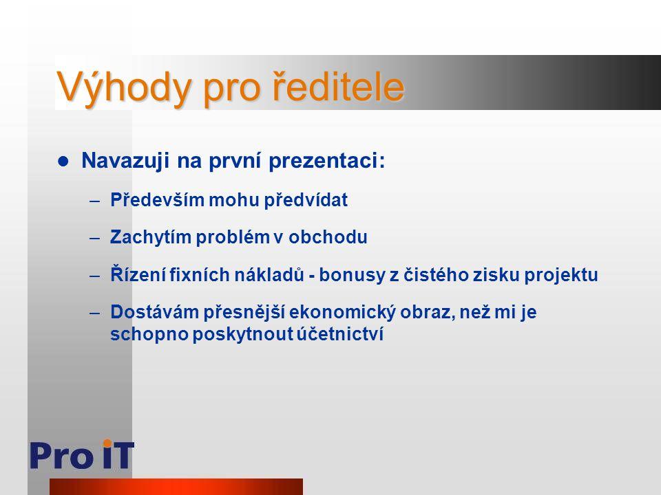 Výhody pro ředitele Navazuji na první prezentaci: –Především mohu předvídat –Zachytím problém v obchodu –Řízení fixních nákladů - bonusy z čistého zis
